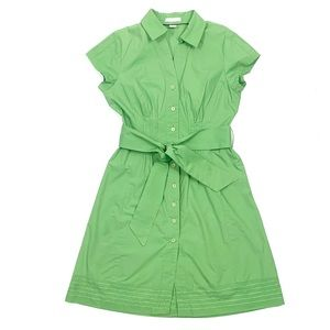 Vintage Tweeds Green Belted Shirt Dress Sz. 8 EUC
